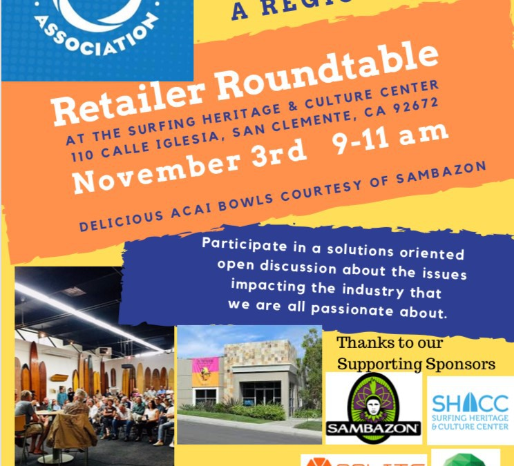 """Board Retailers Association (BRA) Announces Regional Retailer Roundtable"" via ShopEatSurf.com"