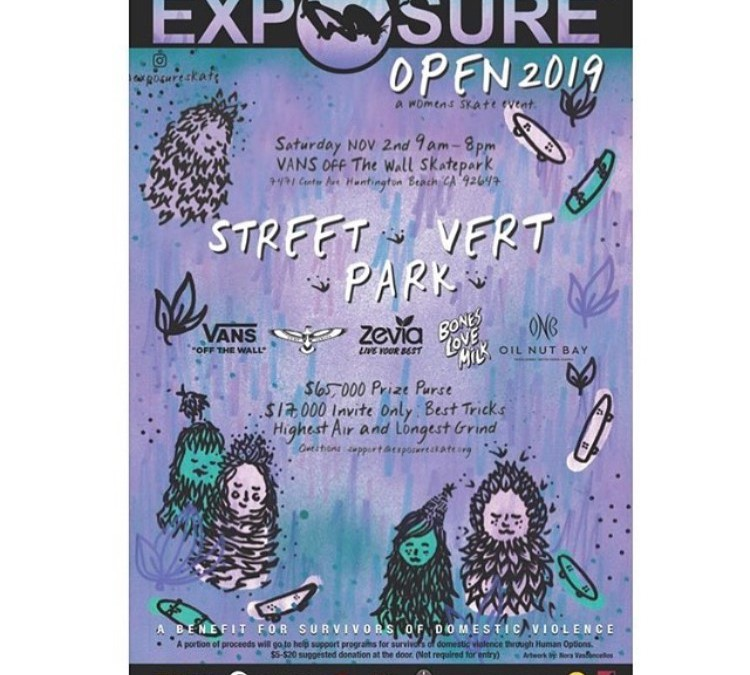 Exposure Skate Open 2019 (A Women's Benefit Event) in Huntington Beach on Nov. 2nd via ExposureSkate.org