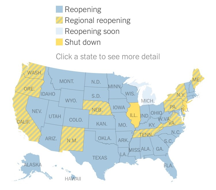 """See Which States Are Reopening and Which Are Still Shut Down"" By Sarah Mervosh, Jasmine C. Lee, Lazaro Gamio and Nadja Popovich (Updated May 21, 2020)"