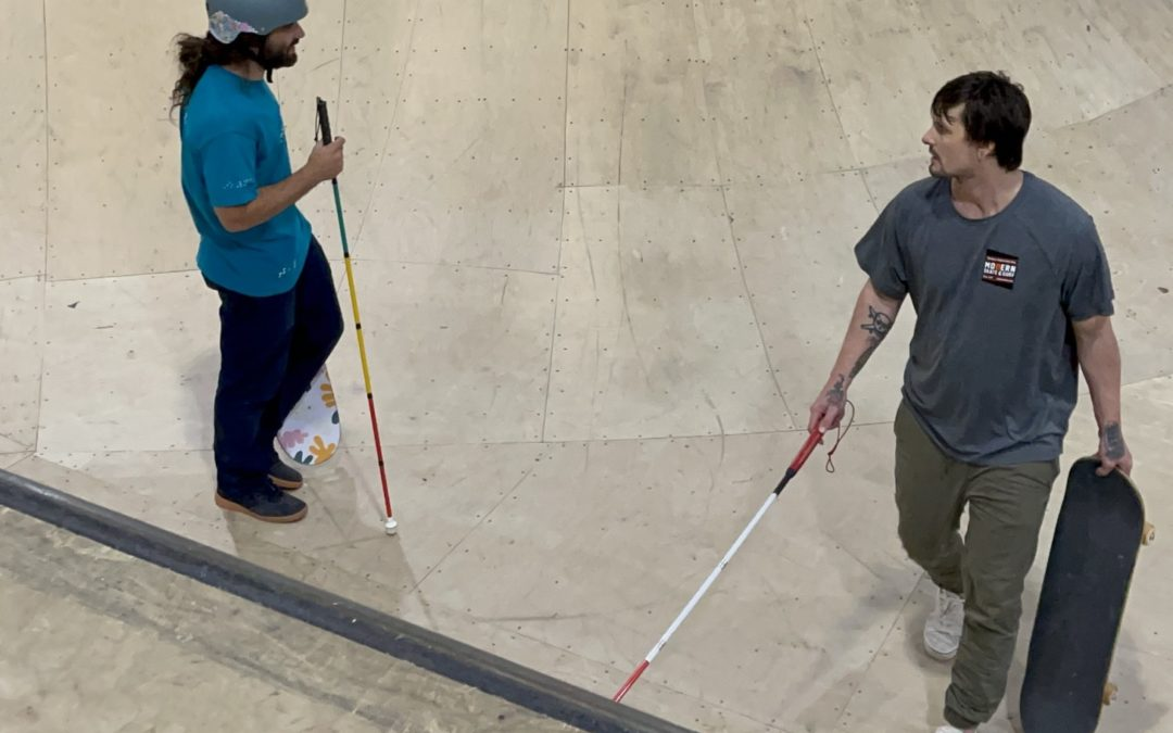 """""""Blind & Adaptive Skaters Take Over a Skate Park for the Weekend – A group filled with Ambition, Perseverance, and Grit"""" by Kelly Anne Walborn"""